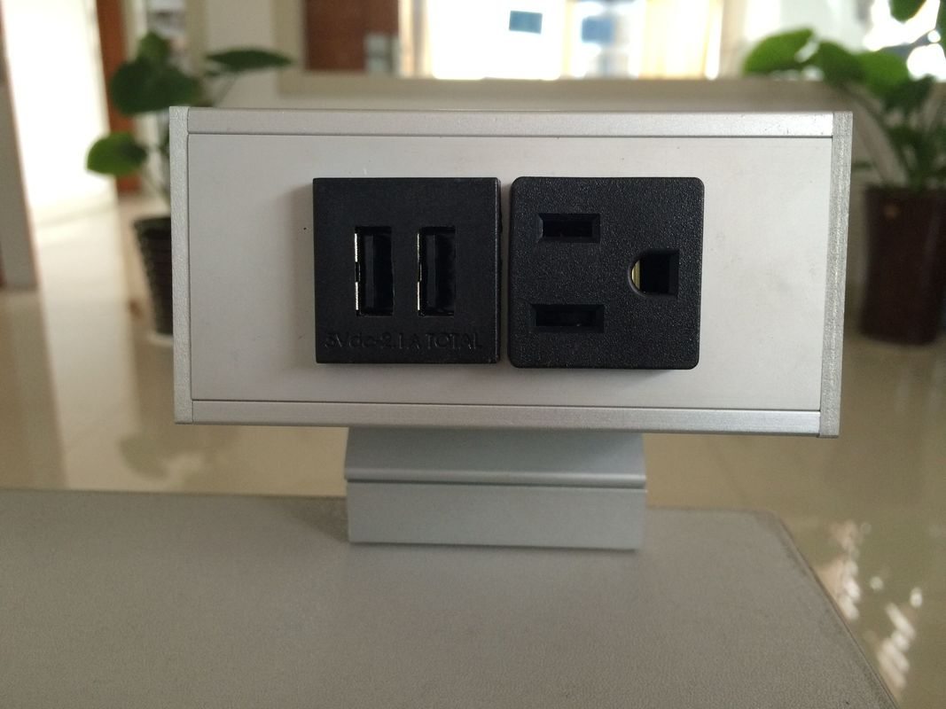 Desk Mounted Power Sockets with 1 Outlets & 2 USB Ports , Metal Tabletop Outlet 125V 15A